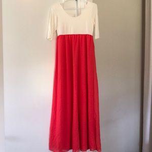 S coral and cream maternity maxi dress